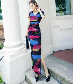 大きなサイズ(XLサイズ)キャバドレス ロングドレス ナイトワークやパーティーにもグラデーション柄ストレッチロングドレス 大きいサイズのドレス