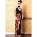 ロングドレス キャバドレス キャバワンピ フロントラインストーンデザイン 和柄セクシーロングドレス