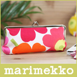 マリメッコ ( marimekko ) MINI UNIKKO ( ミニ ウニッコ ) SILMALASI KUKKARO / 小物入れ(横長) イエロー×オレンジ×ピンク .