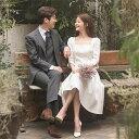 ウェディングドレス 二次会 パーティードレス シンプル ワンピース 膝丈ドレス フレンチ風 上品 花嫁ドレス お呼ばれ …