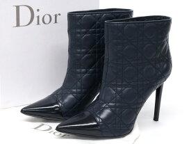 超美品【Dior ディオール】 カナージュ ショートブーツ レディース サイズ40 レザー ネイビー 紺 【中古】 [20200917]