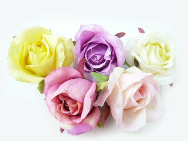 コサージュ&ヘアクリップ2way(1個) 咲きはじめのシングルローズ6580 ヘアーアクセサリーにもなる使いやすい手作りの造花