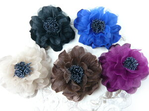 コサージュ&ヘアクリップ2WAY ふわふわ大輪のバラ 髪飾り 花飾り 帯飾り 髪留め 和装小物 ウエディング フォーマル