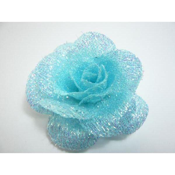 ブルーラメのバラ ドレスや帽子・バックにつけるだけでなくヘアーアクセサリーにもなる造花
