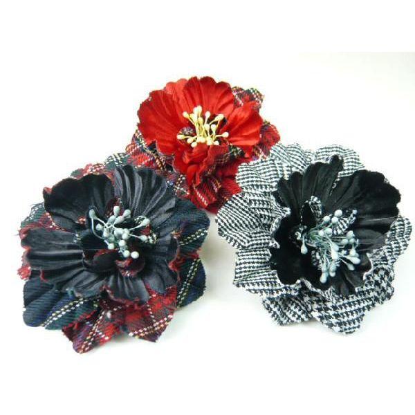 髪飾り&コサージュ2WAY 厚手チェックのくちなしの花 アクセサリー・造花 バックチャームもなって嬉しい