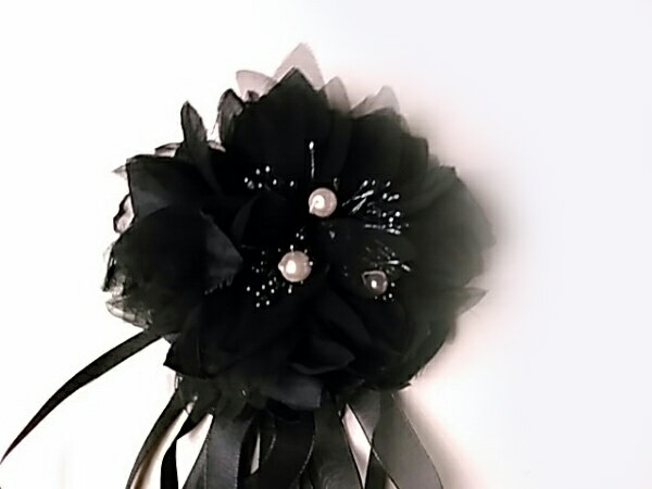 コサージュ 黒のリボンR 造花