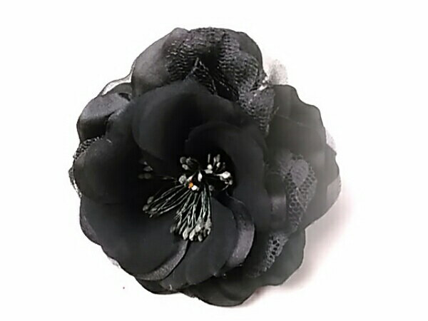 コサージュ ラインストーンが入った黒の咲きバラR 造花