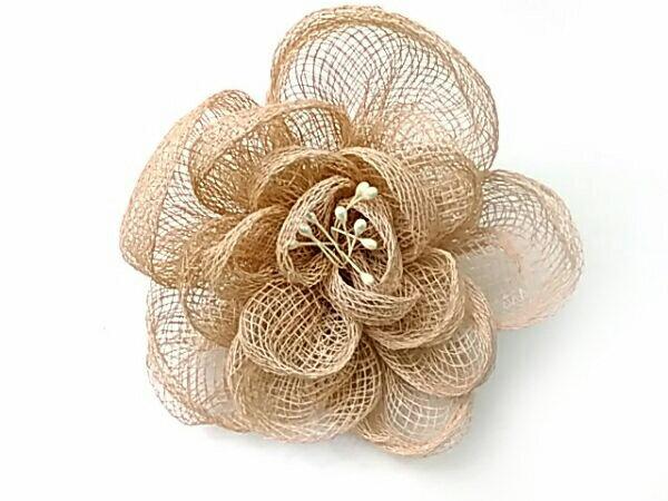 コサージュ シーナマイロールのバラ L(ペップ入) ライトブラウン R 造花