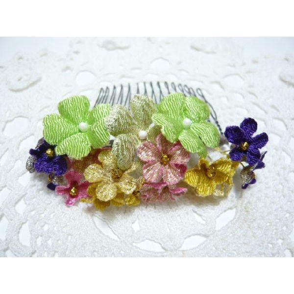 ちりめん髪飾り・「祇園小花」 緑 結婚式や成人式・正月や七五三に注目を独り占め!ヘアーアクセサリー造花