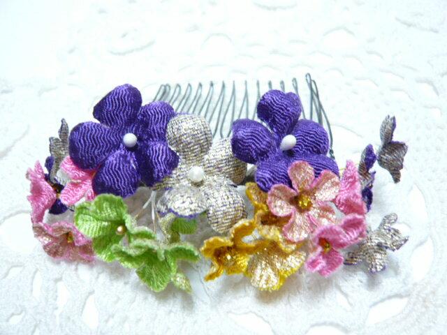 ちりめん髪飾り・「祇園小花」 紫 結婚式や成人式・正月や七五三で注目を独り占め!ヘアーアクセサリー造花