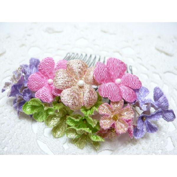 ちりめん髪飾り・「祇園小花」 ピンク 結婚式や成人式・正月や七五三に注目を独り占め!ヘアーアクセサリー造花