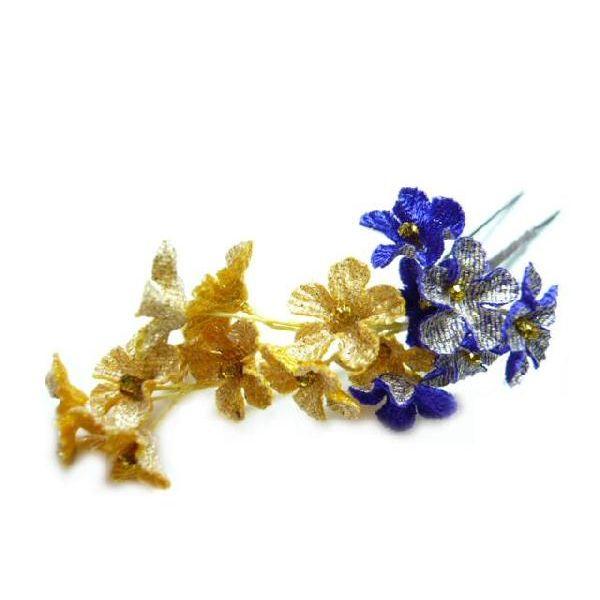 ちりめん髪飾り・「祇園小花」オニピン 紫 結婚式や成人式・正月や七五三に着物のヘアーアクセサリー造花