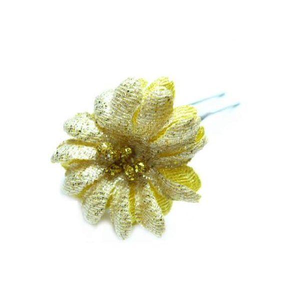 ちりめん髪飾り・オニピン デージー 黄 結婚式や成人式・正月や七五三に着物のヘアアクセサリー造花