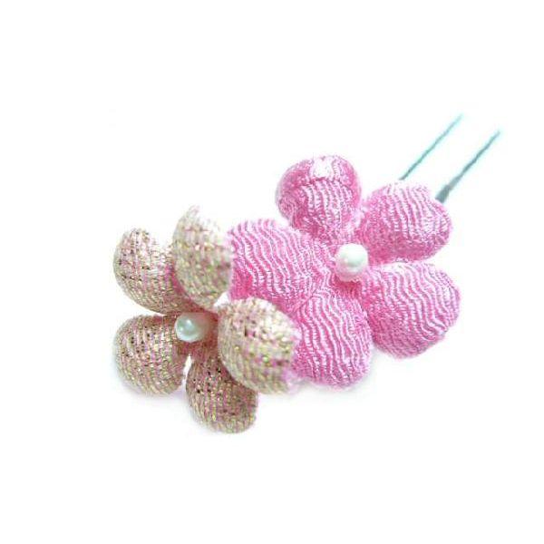 ちりめん髪飾り・オニピン プリム ピンク 結婚式や成人式・正月や七五三に着物のヘアーアクセサリー造花