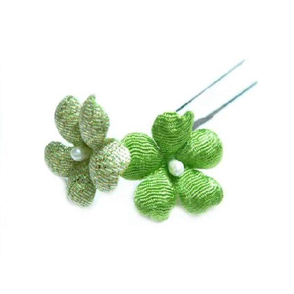 ちりめん髪飾り・オニピン プリム 緑 結婚式や成人式・正月や七五三に着物のヘアーアクセサリー造花
