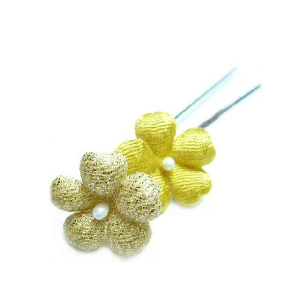 ちりめん髪飾り・オニピン プリム 黄 結婚式や成人式・正月や七五三に着物のヘアーアクセサリー造花