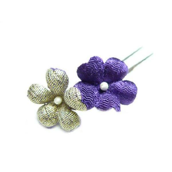 ちりめん髪飾り・オニピン プリム 紫 結婚式や成人式・正月や七五三に着物のヘアーアクセサリー造花