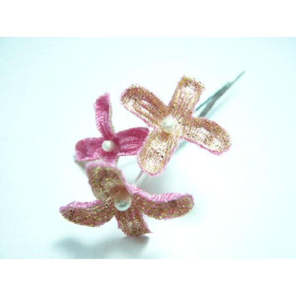 ちりめん髪飾り・オニピン ライラック ピンク 結婚式や成人式・正月や七五三に着物のヘアーアクセサリー造花