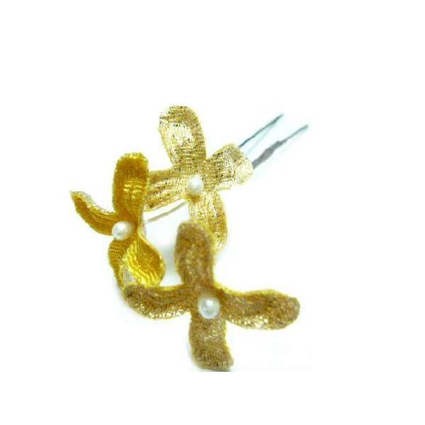 ちりめん髪飾り・オニピン ライラック 黄 結婚式や成人式・正月や七五三に着物のヘアーアクセサリー造花