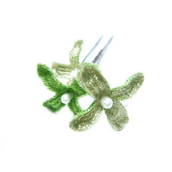 ちりめん髪飾り・オニピン ライラック 緑 結婚式や成人式・正月や七五三に着物のヘアーアクセサリー造花