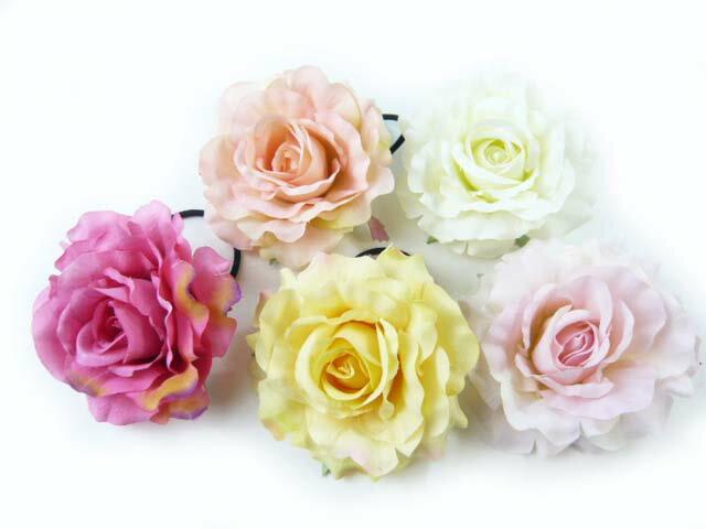 髪飾り バラの女王クイーンローズの大輪のポニー6582(1個) ヘアーアクセサリーにもなる手作りの造花