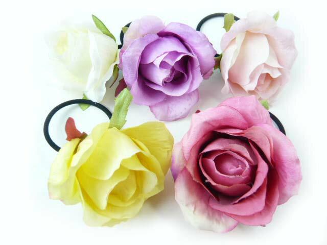 髪飾り 清楚な美しさシングルローズのポニー6580(1個) ヘアーアクセサリーにもなる手作りの造花