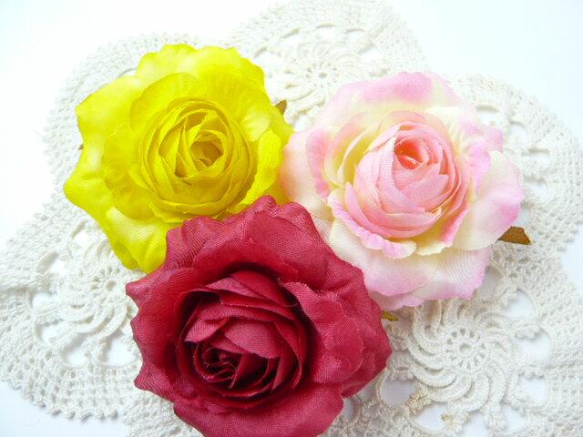 コサージュ&ヘアクリップ2WAY ソフトローズ大(1個) 花飾り・造花