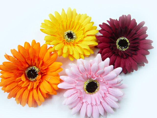 髪飾り&コサージュ2WAY 大きいガーベラ(1個) ヘアーアクセサリーにもなる手作りの造花