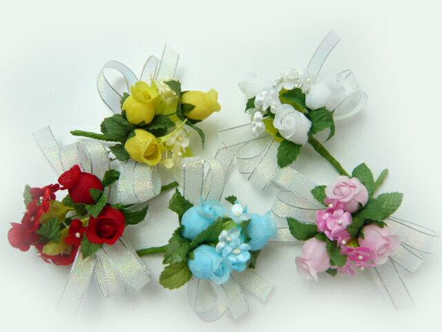 花飾り・コサージュ・胸花◆卒業式・入学式・卒園式・入園式・2分の1成人式◆オーロラリボンのコサージュ・完成品(1個)