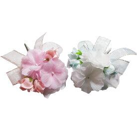 造花 花飾り 胸花 ジャスミンとバラのコサージュ 完成品 (1個)