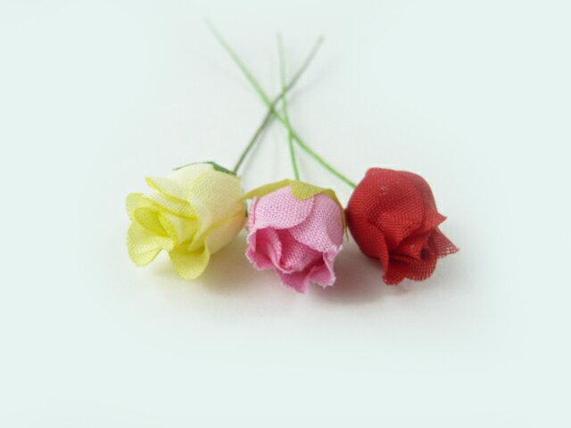 【アウトレット】造花 素朴なコットンの豆バラ402(1本) ヘアーアクセ・・ラッピング・ギフト 髪飾りを作る小さなフラワー 使い方を動画で紹介