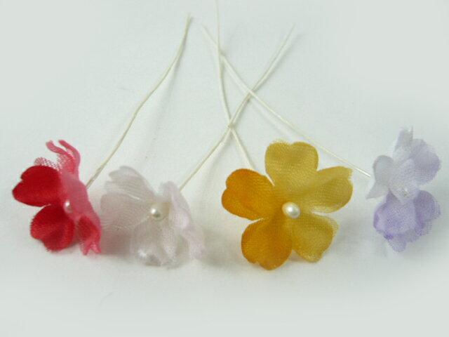アウトレット造花 小花 2枚ぼかし205(1本) ヘアーアクセサリー 使い方を動画で紹介