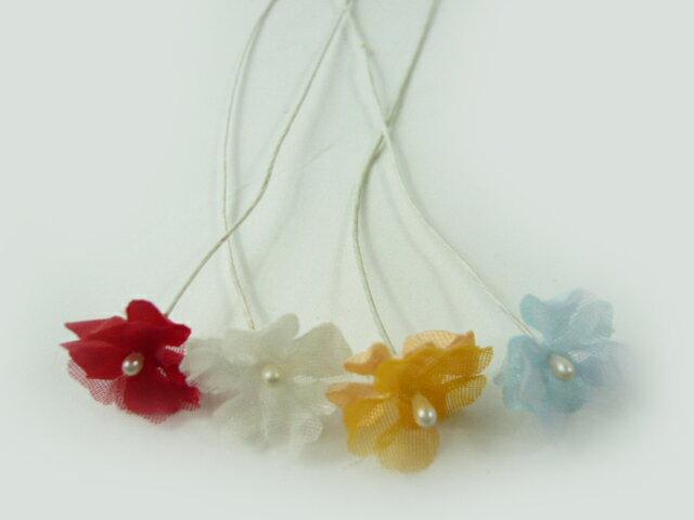 【アウトレット】造花 2枚べた207(1本) ヘアーアクセサリー 髪飾りを作る小さなフラワー 使い方を動画で紹介