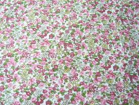 コットン生地 綿60ローンタンブラープリント ピンク 赤の花柄(10cm) グラニーバック ソーイング 洋裁
