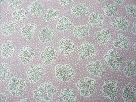 コットン生地 綿60ヴィンテージフィールプリント グレイッシュピンク花束(10cm) グラニーバック 洋裁