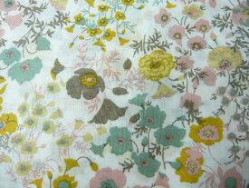 コットン生地 綿80ヴィンテージフィールプリント イエロー ピンク グレー ブラウンの花(10cm) グラニーバック 洋裁