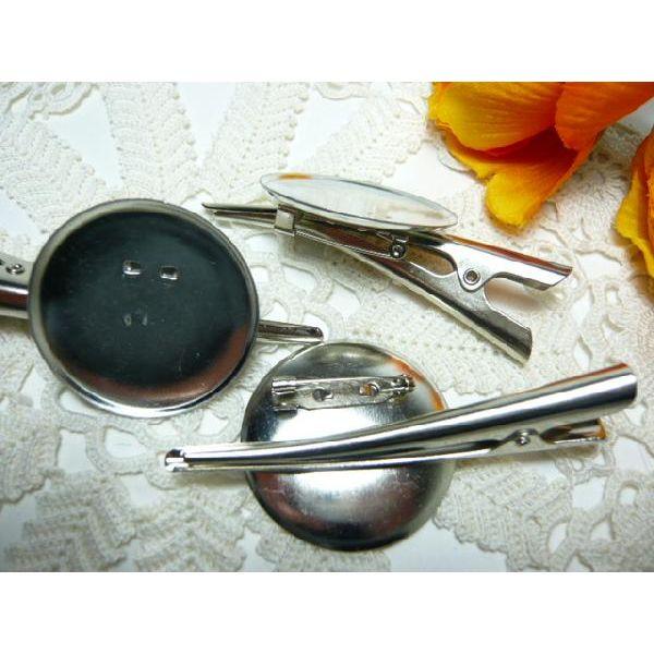 ブローチピン&ヘアクリップ Lサイズ 2WAY銀(1個) コサージュピン・ヘアピン・アクセサリー・手芸材料