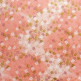 ちりめん 生地 友禅 桜吹雪金彩ピンクGN-64/04 10cm 髪飾りやつまみ細工に 二越 レーヨン 縮緬 和風 はぎれ