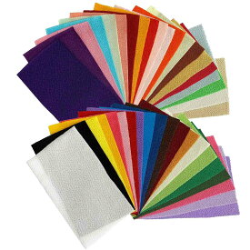 ちりめん はぎれ セット 無地 50枚 (約9cm×約16cm) 色の一覧表付き 髪飾りやつまみ細工に 二越 レーヨン 縮緬 生地 和布