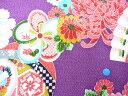 ちりめん生地・和布・古布・はぎれ◆レーヨンちりめん友禅昭和レトロな大柄な花柄 紫 YS05-02(10cm)