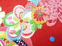 ちりめん生地・和布・古布・はぎれ◆レーヨンちりめん友禅昭和レトロな大柄な花柄 赤 YS05-01(10cm)