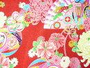 ちりめん生地・手芸材料◆美しい和の手仕事・伝統のちりめん和雑貨・ちりめん細工と和風小物を作るレーヨンちりめん生地友禅中桜ぼかし茶YN49/18