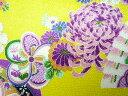 ちりめん生地・和布・古布・はぎれ◆レーヨンちりめん友禅昭和レトロな大柄な花柄 黄 YS05-03(10cm)
