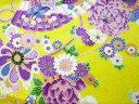 ちりめん 生地 友禅 昭和レトロな大柄な花柄 黄 YS05-03 10cm 髪飾りやつまみ細工に 二越 レーヨン 縮緬 和風 はぎれ