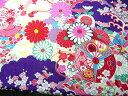 ちりめん生地・和布・古布・はぎれ◆レーヨンちりめん友禅大正ロマンの大柄な花柄 紫 YS04-02(10cm)