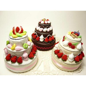 ちりめん細工 フルーツいっぱいの丸いデコレーションケーキ3段小物入れ ギフトボックス フェイクスイーツ なんでもいれちゃうハッピーデコレーション