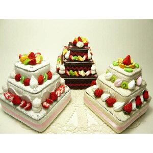ちりめん細工 フルーツいっぱいの四角いデコレーションケーキ3段小物入れ ギフトボックス フェイクスイーツ なんでもいれちゃうハッピーデコレーション