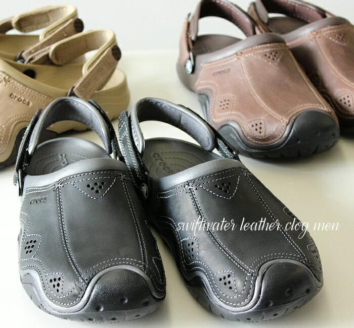 【クロックス crocs 】 swiftwater leather clog/スウィフトウォーター レザー クロッグ メン