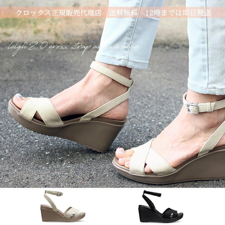 【クロックス crocs レディース b】leigh 2.0 cross strap ankle wedge /レイ2.0 クロス ストラップ アンクル ウェッジ ウィメン