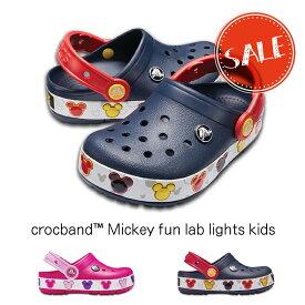 【クロックス crocs キッズ】crocband mickey fun lab lights kids/クロックバンド ミッキー ファンラブライツ キッズ